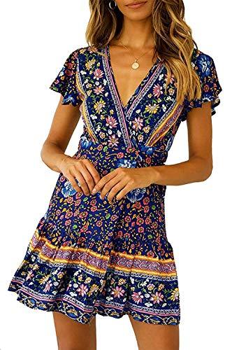 Twinklady Women's Summer Wrap V Neck A Line Dress Boho Floral Print Ruffle Beach Mini Dress (Navy Blue, ()