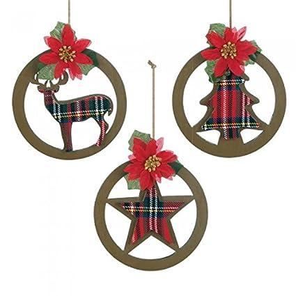 Amazon Com Plaid Silhouette Christmas Ornament Set Home Kitchen