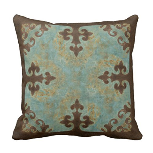 Emvency Throw Pillow Cover Cowgirl Turquoise Leather Western Cowboy Leatherwork Decorative Pillow Case Home Decor Square 18 x 18 Inch Pillowcase (Turquoise Pillows Brown And)