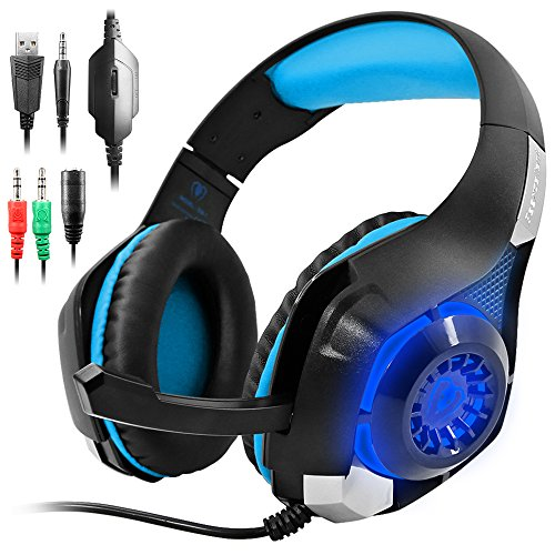 GM-1 New Xbox One s PS4 Pro Headphones for PC Tablet Cellphone,AFUNTA Stereo LED Backlit Gaming Headset with Mic-Blue