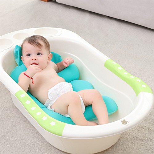 pannow Baby Bath Cushion, Newborn Infant Comfy Bath Cushion Seats Cartoon Soft Slip-resistant Toddler Bathtub Shower Support Seat Pad Safety Soft Bath Lounger for 0-6 Month (Green)