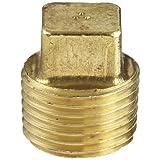 "Anderson Metals 56109 Brass Pipe Fitting, Cored Square Head Plug, 1/2"" NPT Male Pipe"
