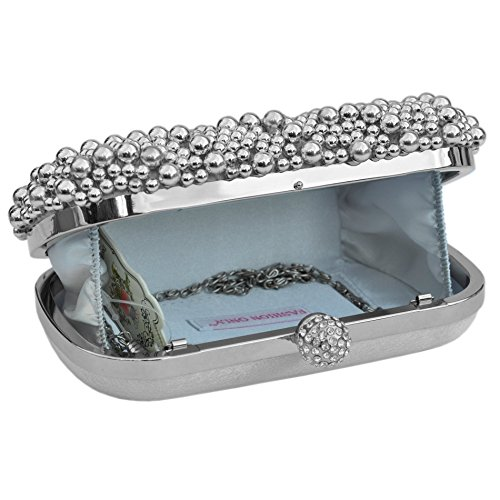 Gift Beaded An Ideal Boxed Evening Comes Clutch Pearl Silver Present Bag wppxqXT
