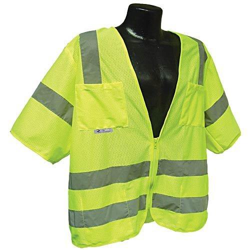AM Leonard V313-9L-LG Mesh Velcro Class 3 Safety Vest - Lime, - Orchard Am