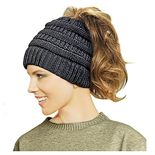 Lamdgbway Trendy Knit Hat Cable Beanie Stretch Chunky Warm Messy Ponytail Bun Hat Black