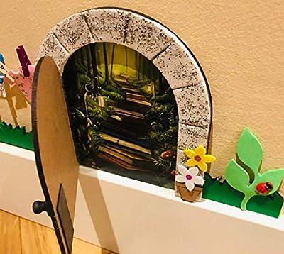Puerta ratoncito Pérez GOMA EVA ROSA CON JARDÍN, que se abre: Amazon.es: Handmade
