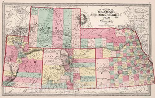 - Historic Map | 1874 County map of Kansas, Nebraska, Colorado, Utah and Wyoming | Vintage Wall Art | 36in x 24in