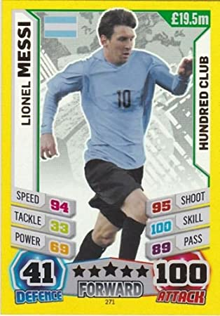 Carte collezionabili singole Match Attax England World Cup 2014 Lionel Messi 100 Hundred Club Hobby e collezionismo