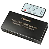 HDMI Switch HDMI 2.0 Switcher Auto 4 In 1 Out with IR Remote HDMI Splitter Support Ultra HD 4Kx2K@60Hz HDR 3D 1080p HDCP 2.2 Pass-through for XBox PS4 Blu-Ray Player Roku Amazon Fire Stick By DotStone
