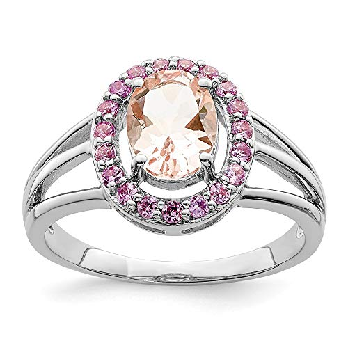 - 925 Sterling Silver Morganite Pink Sapphire Oval Band Ring Size 6.00 Gemstone Fine Jewelry Gifts For Women For Her