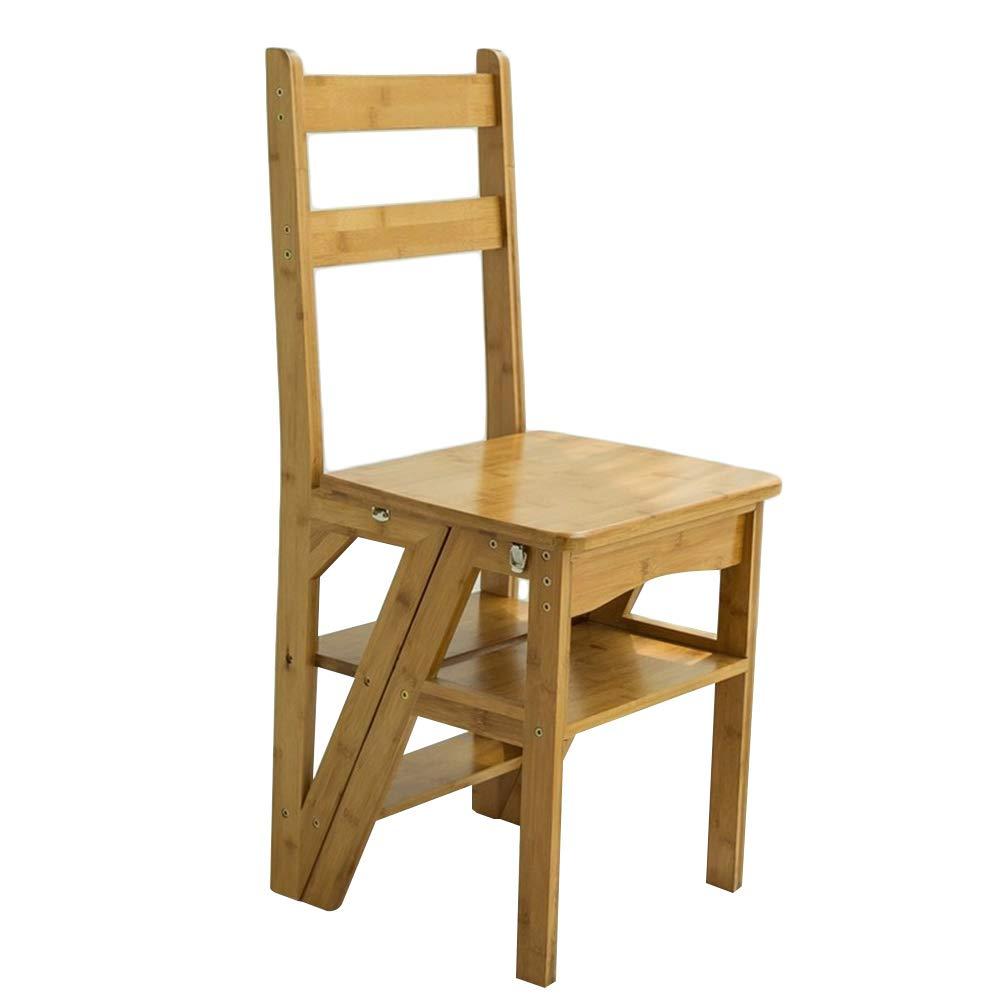 CAIJUN 折りたたみ椅子レトロ竹折りたたみ多機能滑り止めクライミングインストールする必要がある、4ステップはしご、3色 Dual-use (色 : 木の色) B07MNWQ2FD 木の色
