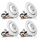 Hyperikon 4''-Inch LED Rotatable Gimbal Downlight, Dimmable, 10W (65W Equivalent), Retrofit LED Recessed Fixture, 2700K (Warm White), ENERGY STAR Ceiling Light - Bathroom, Kitchen, Office (4 Pack)