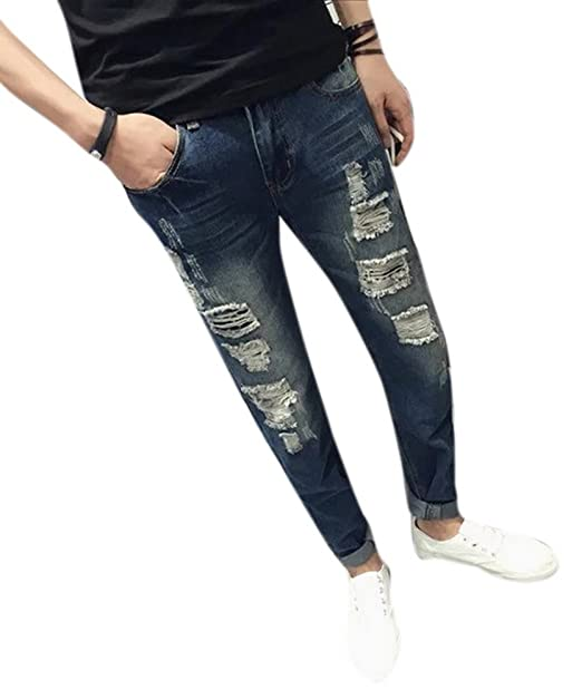 0fb5e37e11f Men's Slim Distressed Skinny Fit Tapered Leg Ripped Jeans Pants Navy Blue  at Amazon Men's Clothing store: