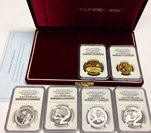 unknown 2002 South Korea 2002 Set 6 Gold Silver FIFA World Cup PF 69-70 Ultra Cameo