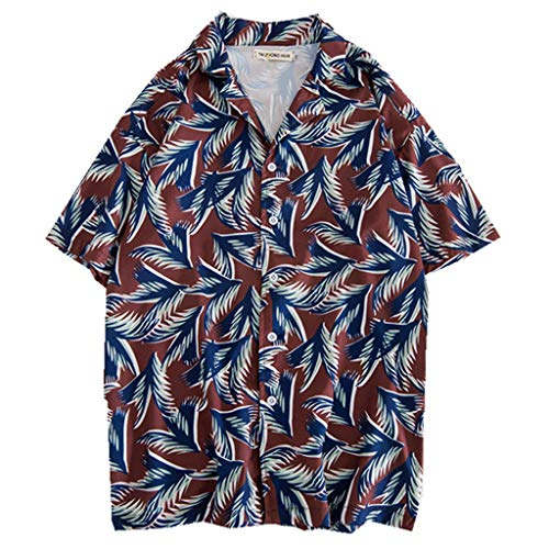 Toimothcn Hawaiian Shirts, Men's Baggy Button Down Shirt Short Sleeve Stripe Printed Aloha Shirt with Pocket(Blue,M)