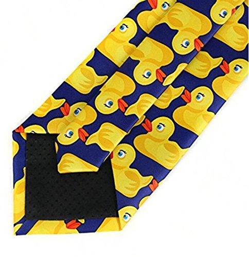 di colore giallo e blu Fengh in stile cartone animato cravatta divertente con motivo di paperella di gomma