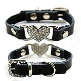 Leshwo Pet Bling Necklace Dog Heart Rhinestone Collars Black -XXS