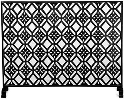 暖炉スクリーン アメリカのシンゲルパネルブラック暖炉スクリーン - ホームの安全ベビーフェンス - ストロングメタルメッシュ/ 2足はガードスパーク (Color : Black)