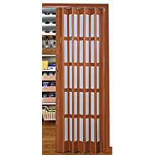 "Flexi Space Walnut Glossy Folding Door 34"" Wide Roraima Double-Ply with Flexible Vinyl Hinge, Magnetic Latch & Handle, with 5 Short Milky Glass Panel, 0.23'' Thick"