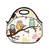 Cute Three Owls Insulated Neoprene Lunch Tote Bag Picnic Bag Cool Bag with Zip & Handles FLB-02 (Cute Three Owls)