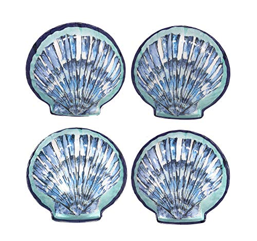 - Northeast Home Goods Blue Scallop Seashell Shaped Melamine Bowls, Set of 4