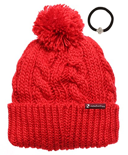 Women's Thick Oversized Cable Knitted Fleece Lined Pom Pom Beanie Hat with Hair Tie. (One size, Red with logo)