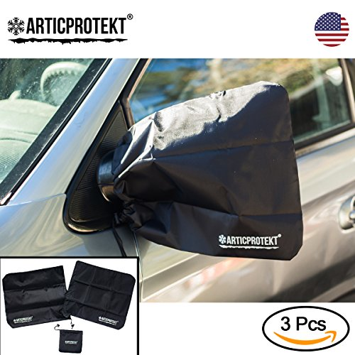 Car Mirror Covers for Winter | Universal Extra Large 16'' x 14'' Big Size Side Mirror Covers for Cars, SUV or Truck | Snow and Ice Mirror Covers | Free Storage Bag