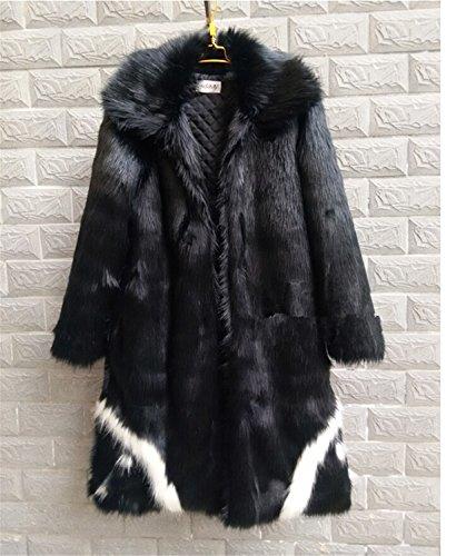 Musamk Dashing 2016 new men's winter faux fur jacket Black gown white devil Style long section windbreaker Fox thick warm fashion High Grade