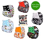 Pocket Cloth Diapers All in One Design Adjustbale Size 6 Pack and 6 Built-in Inserts and 1 Wet Bag