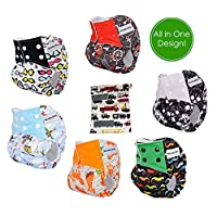 Pocket Cloth Diapers All in One Design Adjustable Size 6 Pack and 6 Built-in ...