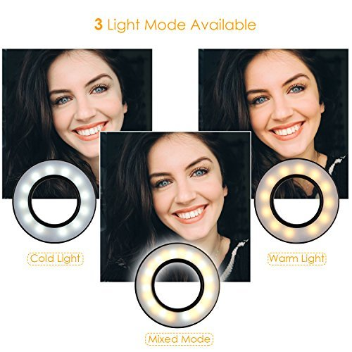 FIXKIT Selfie Ring Light with Cell Phone Holder for Live Stream, Dimmable 3-Light Mode, Lazy Bracket Desk Lamp LED Light for Youtube, Facebook, iphone 7,6/plus, Samsung, HTC, HUAWEI