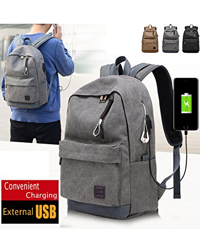 Backpack Men Male Canvas Backpack Hoperay College Student School Bags for Teenagers Vintage Mochila Casual Travel Daypack Laptop Backpacks with USB Charging Port Fit 15inch Laptop (Grey)
