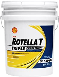 Shell Rotella 550019916 T Triple Protection 15W-40 Heavy Duty Engine Oil -1 - 5 Gallon Pail