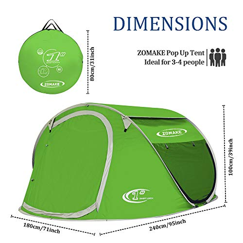 Pop Up Tent Automatic Instant Setup Water Resistant Ventilation and Anti-UV for 2-3 Person for Backpacking and Camping