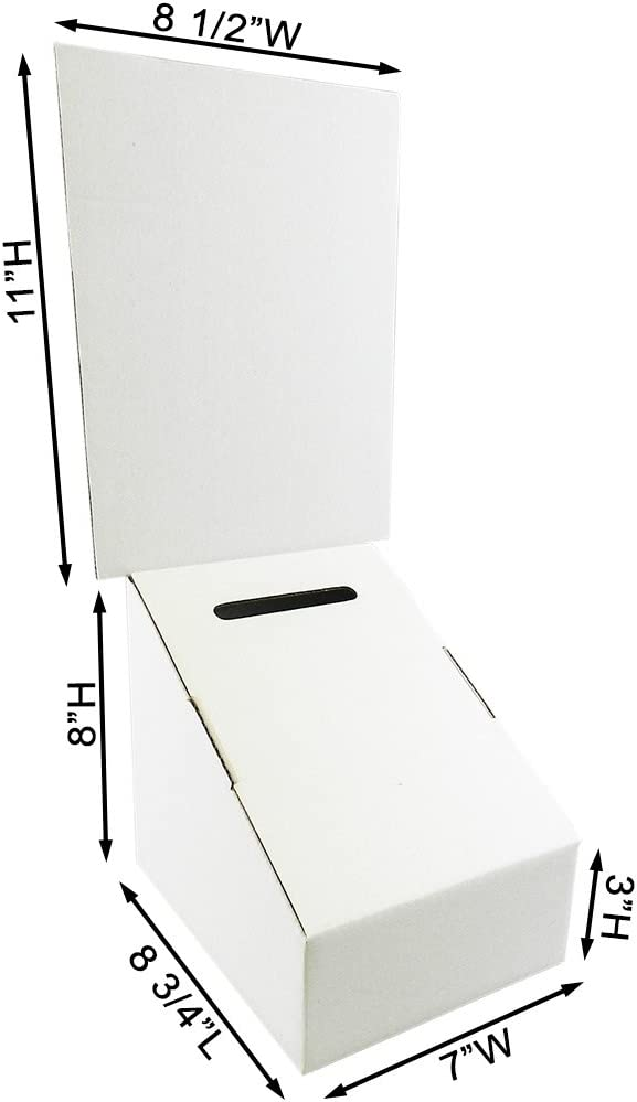 Carton of 10 Ballot Box with 8 1//2 x 11 Removable Header
