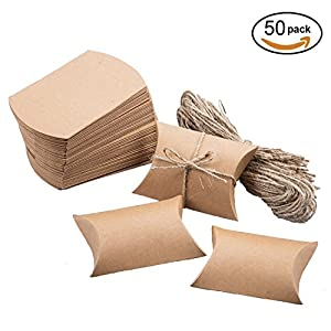 Vintage Kraft Paper Pillow Box Chocolate Candy Treat Box Kit Rustic Gift Boxes with Twine for Wedding Favors Baby Shower Birthday Party Supplies, 50pc