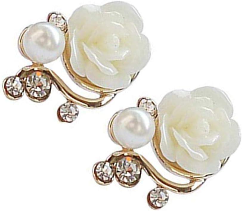 Earring Pendientes Personalizados Mujeres Exquisitas Forma de Flor Diamantes de Imitación Pendiente de Perlas Niñas Clip de Oreja Pin Aleación Stud Joyas Regalo de Cumpleaños Uso de la Vida Cotidiana