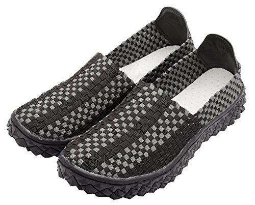 Santimon Heren Casual Flats Geweven Comfortabele Sport Wandelschoenen Slip Op Sneaker Zwart