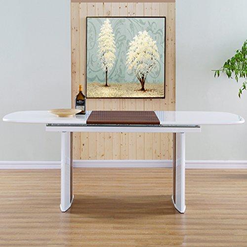MIX DT--WHT/WNT Extendable Table, 58.5