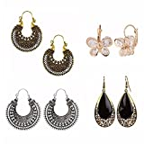 Indian Stylish Vintage Ethnic Oxidized Silver Tone Designer Hoop Earrings Love Gift (Combo3)