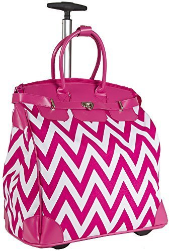 Ever Moda Chevron Travel Bag with Wheels Luggage Carry On for Laptop (Pink)