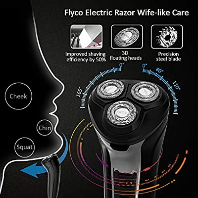 Electric Razor for Men,FLYCO Electric Shavers 2 in 1 Mens Wet & Dry Electric Razors for Shaving Electric Cordless With Pop-up Trimmer,IPX7 Waterproof Wet & Dry Mens Electric Shavers Rechargeable