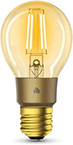 TP-Link KL60 KL60(UN) TP-Link Kasa Filament Smart Bulb, Warm Amber, No Hub Required, E27 Lamp Base, Control from Anywhere, Works with Alexa & Google (KL60), Yellow