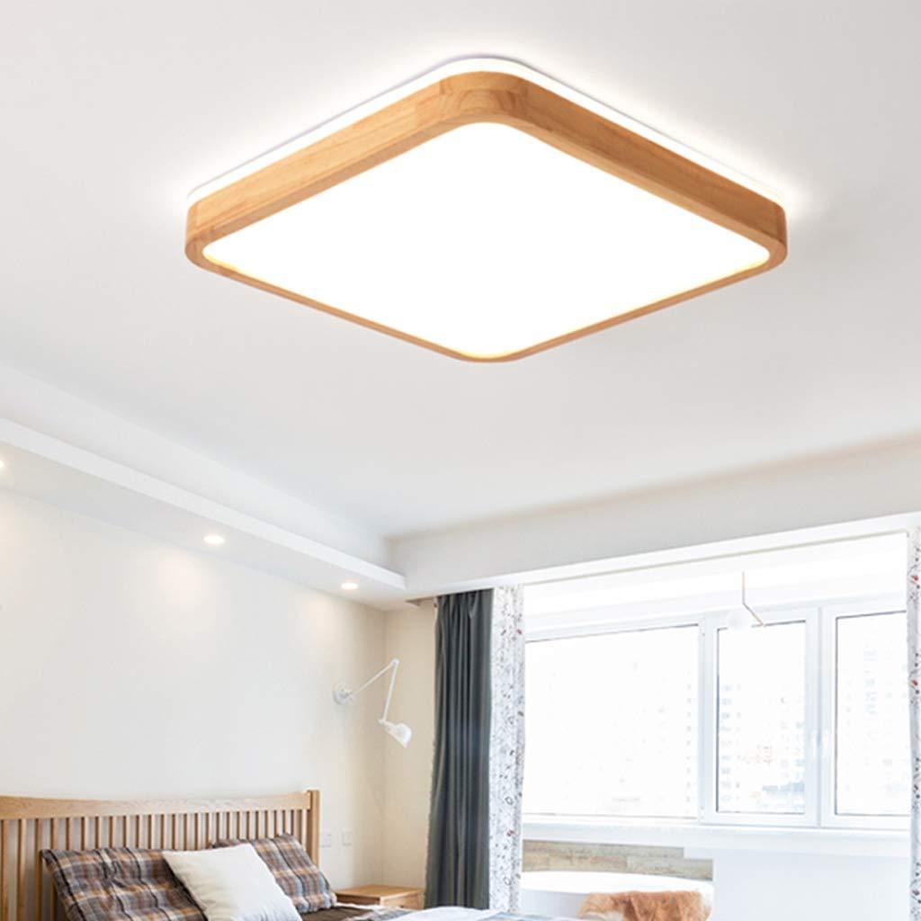 LED Deckenleuchte Eckig Holz Deckenlampe Dreistufig Dimmbar mit Fernbedienung Top 360/° Gl/ühen Stimmungsbeleuchtung Nat/ürlichem Holzlampe Dekorativ Licht Wohnraumleuchte,40cm,Dimming