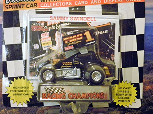 Sammy Swindell Outlaw Sprint Car Black and White Checkered Flag Card 1:64 scale die-cast Racer by Racing - Checkered Diecast Flag