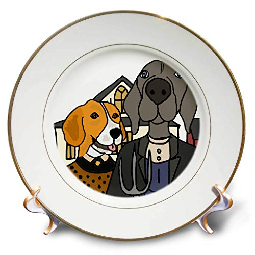 3dRose All Smiles Art - Animals - Cool Funny Beagle Dog and Weimaraner American Gothic Farmers Art - 8 inch Porcelain Plate (cp_308359_1)