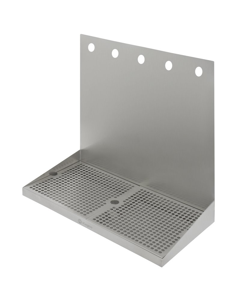Kegco SEWM-2010-5 20'' x 10'' Wall Mount Drip Tray with Drain - 5 Shank Holes by Kegco
