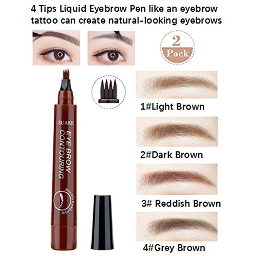 New Tattoo Liquid Eyebrow Pen 2pcs, Waterproof Eyebrow Pencil with Four Tips Ink Gel Tint, Long Lasting Smudge-Proof Natural Hair-Like Defined 24 hours for Eyes Makeup (1#Light Brown&3# Reddish Brown)