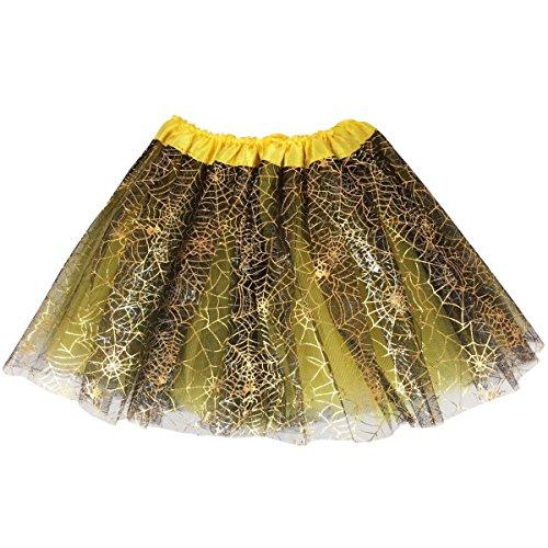 Jastore Girls Layered Stars Sequins Tutu Skirt Princess Ballet Dance Dress (Yellow Spider Web) -
