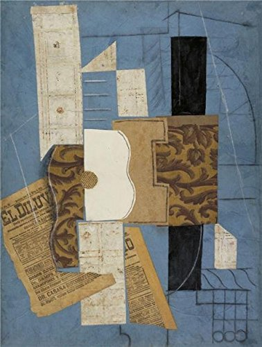 Oil Painting 'Guitar-Pablo Picasso,1913' Printing On Perfect Effect Canvas , 24x32 Inch / 61x81 Cm ,the Best Game Room Decor And Home Decoration And Gifts Is This Imitations Art DecorativeCanvas Prints